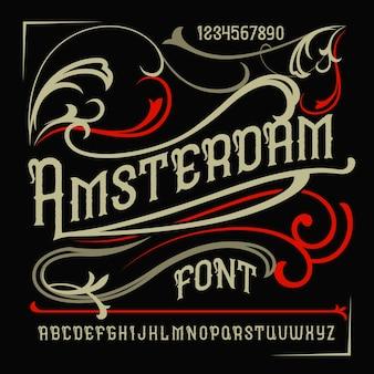 Vintage label typeface named
