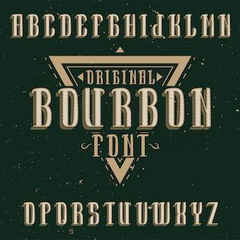 Bourbon이라는 이름의 빈티지 라벨 서체. 빈티지 라벨이나 로고에 사용하기에 좋은 글꼴입니다.