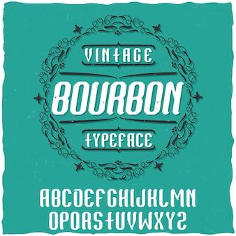 Винтажная этикетка с гарнитуром bourbon.