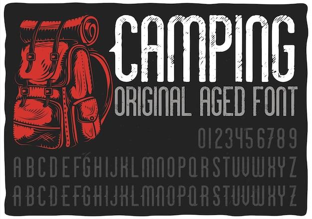 Винтажный шрифт этикетки с названием «кемпинг».