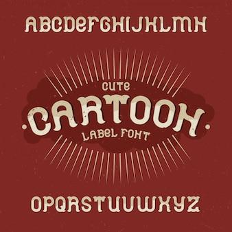 Винтажный шрифт этикетки с именем cartoon. хороший шрифт для любых винтажных этикеток или логотипов.