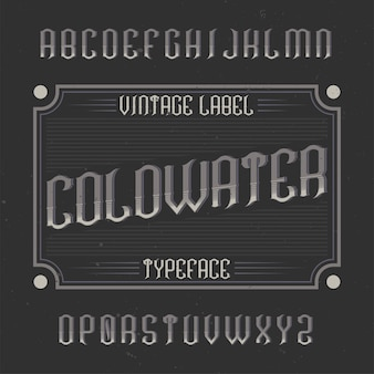 Coldwater라는 빈티지 라벨 서체.