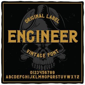 Старинный шрифт этикетки с названием «инженер» с изображением крана