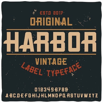 Vintage label typeface named