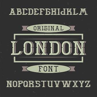 런던이라는 빈티지 라벨 서체.