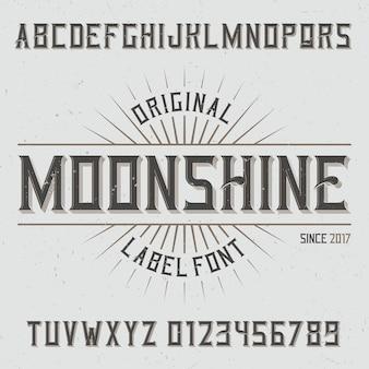 Carattere tipografico di etichetta vintage denominato moonshine