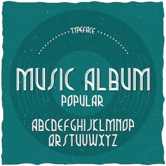 Винтажный шрифт лейбла под названием music album.