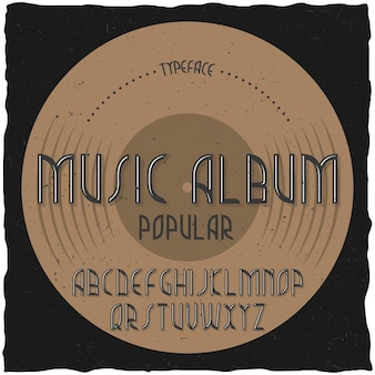 Music album이라는 빈티지 라벨 서체.