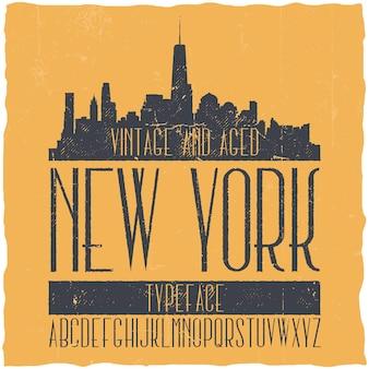 Carattere tipografico etichetta vintage denominato new york
