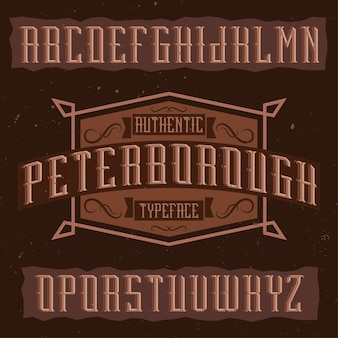 Peterborough라는 빈티지 라벨 서체. 빈티지 라벨이나 로고에 사용하기에 좋은 글꼴입니다.