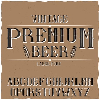 Vintage label typeface named premium beer.