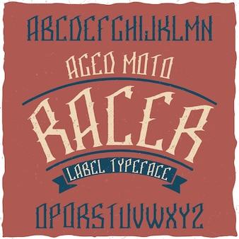 Carattere tipografico di etichetta vintage denominato pietra.