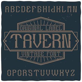 Carattere tipografico etichetta vintage denominato