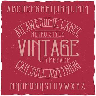 Винтажный шрифт этикетки с названием vintage.