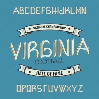 Carattere tipografico etichetta vintage denominato virginia