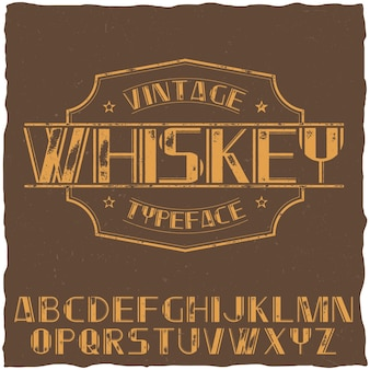 Vintage label typeface named whiskey on the brown illustration