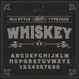 Vintage label typeface named whiskey. good handcrafted font for any label design.