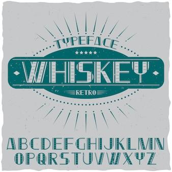 Винтажный шрифт этикетки с именем виски.