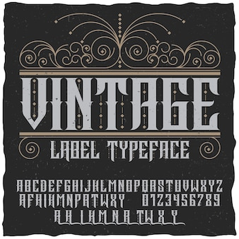 Vintage label typeface poster with alphabet and figures on the black