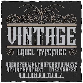 Poster di carattere tipografico etichetta vintage con alfabeto e figure sul nero