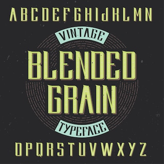 Carattere tipografico etichetta vintage