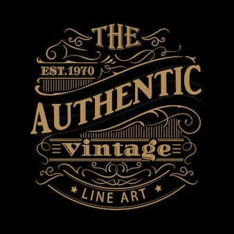 Vintage label western hand drawn antique frame typography illustration