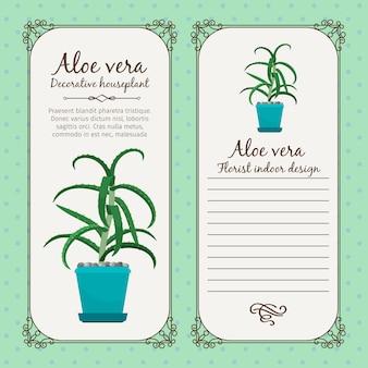Vintage label with aloe vera plant