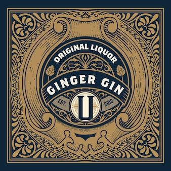 Vintage label with gin liquor