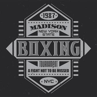 Vintage label with lettering composition on dark background.