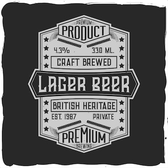 Vintage label   with lettering composition on dark  .