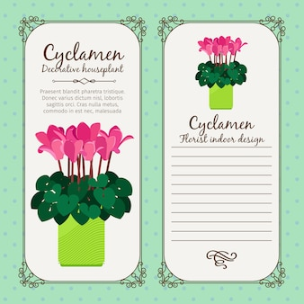 Vintage label with potted flower cyclamen