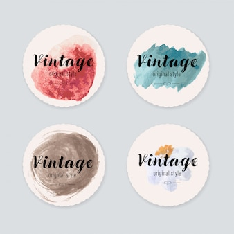 Vintage label  with watercolor brush painting. label banner and badge blots stains brush texture.