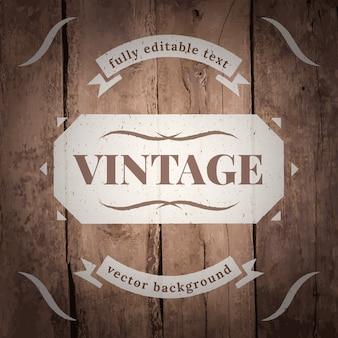 Vintage label on wood