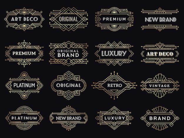 ヴィンテージラベル。アールデコ調の豪華なバナーアンティークレストランのグラフィック要素のロゴが額装されています。 Premiumベクター