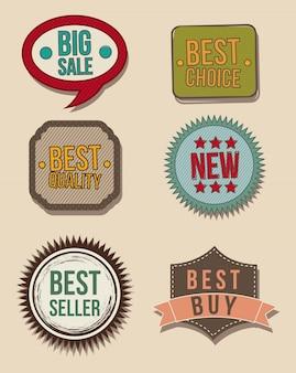 Vintage labels over beige background vector illustration