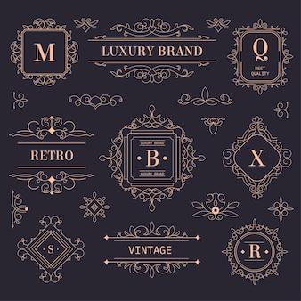 Vintage labels or emblems, golden logotypes with vintage ornaments and flourishing design