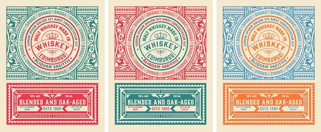 ウイスキーやその他の製品のヴィンテージラベル。