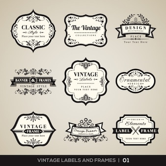 Vintage labels and frames collection