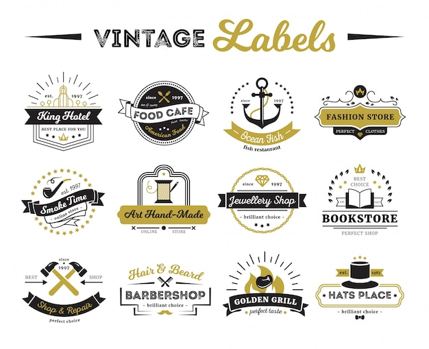 Vintage labels of hotel shops and cafe including bookstore barber