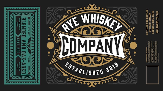 Vintage labels for whiskey or other products.