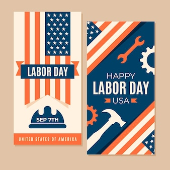 Vintage labor day banner template theme
