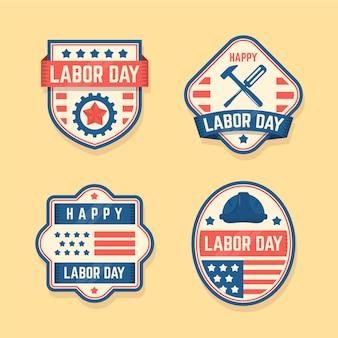 Set di etichette vintage festa del lavoro