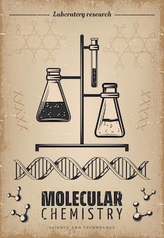 Винтажный плакат лабораторных исследований со стеклянными пробирками, колбами, днк и молекулярной структурой