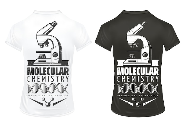 Vintage laboratory research prints template with inscription microscope dna molecular structure on white and black shirts isolated