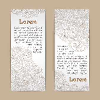 Vintage lace ornamental banners vertical set  isolated