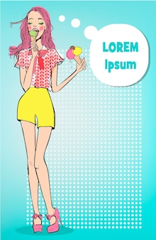 Vintage ladie with ice cream in pop art style