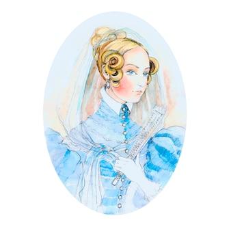 Vintage lady watercolor portrait.