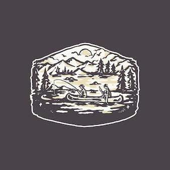Vintage lake fishing boat badge logo illustration