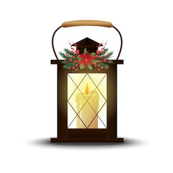 ヴィンテージランプ、ランタン。ワックスキャンドル。クリスマスの装飾、装飾。孤立した白い背景。