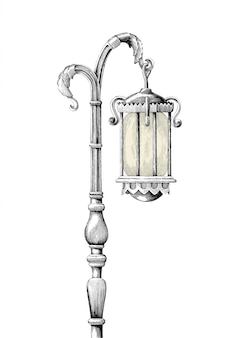 Vintage lamp post hand drawing engraving illustration on white background